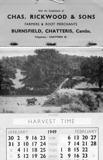 Calendar for farmer Charles Rickwood of Burnsfield, Chatteris. Featured with kind permission of Alan Rickwood.