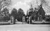 Parochial Cemetery in New Road Chatteris with building to  the side of the gate - this buillding has now disappeared.