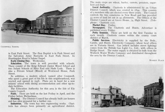 Pages from the Chatteris Town Guide published by the Home Publishing Company.