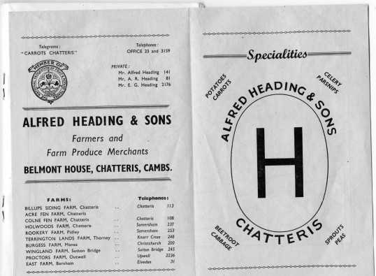 Pages from the Chatteris town guide featuring adverts from A Heading, Belmont House, Chatteris.Guide courtesy of K Roebuck