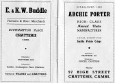 Pages from Chatteris Town Guide featuring advertisements from E & K W Buddle of Southampton Place and Archie Porter,97 High Street.