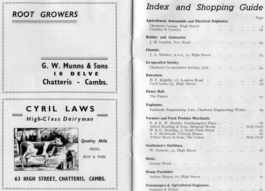 Pages from the undated Chatteris Town Guide with advertisement from G W Munns,18 Delve Terrace and Cyril Laws Dairyman of  63 High Street, Chatteris.