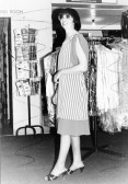 "Mrs Edgley modelling a dress stocked in her shop ""First Choice,"" 11 High Street, Chatteris."