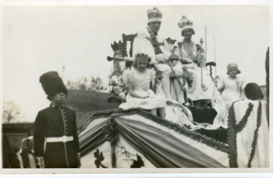 Close up of parade float in Chatteris thought to be celebrating King George VI Coronation.