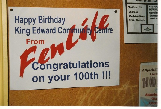 Poster congratulating the King Edward School ( now King Edward Centre) building in Chatteris reaching the age of 100.