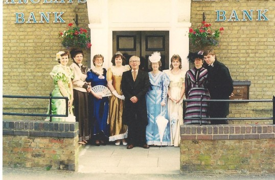 Barclays Bank staff celebrate the Queen's Silver Jubilee outside Bank on the corner of Park St. and West Park St. Chatteris.