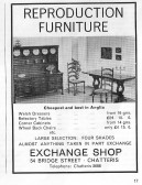 Advertisement for The Exchange Shop, 54 Bridge Street Chatteris. Supplied from L Oakey's scrap book.