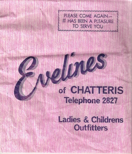 Paper bag bearing details of Eveline's, shop ,High Street ,Chatteris