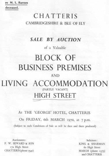 Auction catalogue for the sale of properties on Chatteris High Street. (Page 1.)