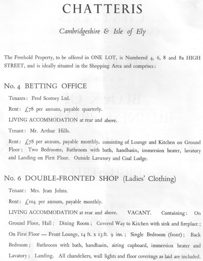 Auction catalogue for sale of properties on Chatteris High Street. (page 2)