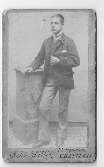 Photograph of an unidentified male by John Willis, photographer, Chatteris. Photograph kindly donated by C Pope.
