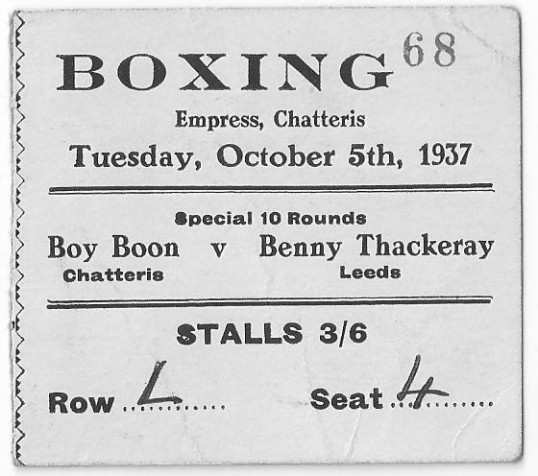 Ticket for boxing match at the Empress in Chatteris. Eric Boon versus Benny Thackeray.