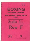 Ticket for a boxing match held at the Empress Cinema, Park Street, Chatteris.
