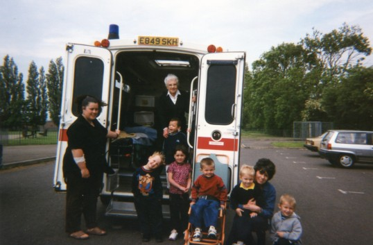 Chatteris Acorn playgroup children and helpers visit St John's ambulance parked in school carpark at the end of Larham Way Chatteris.
