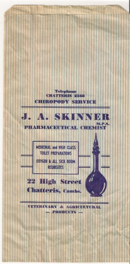Paper bag from Skinners chemists shop, 22 High St, Chatteris. Bag kindly supplied by Peter Taylor.