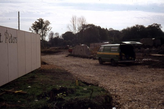 Building starts on site of former cemetery, New Road.Chatteris.(early 70's)? Now area is St Peter's Drive. Photo supplied by R Edwards.