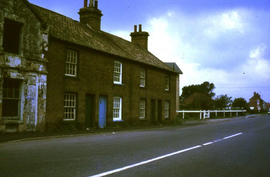 Gas Row, Bridge Street Chatteris. Houses near to where A142 roundabout now stands.  Demolished for A141 bypass. Photo courtesy of R Edwards.