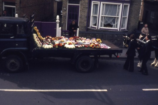 Funeral wreaths outside 92 High Street, Chatteris. Photo courtesy R.Edwards.