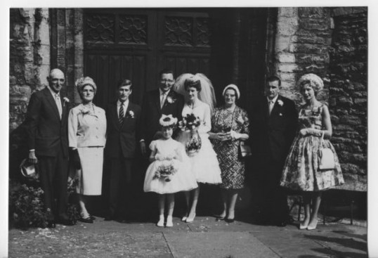 Marriage of Gillian Habberfield to Alan Jackson (of the Maltman Jackson family) at the Parish Church Chatteris.Photo courtesy of Ian Jackson.