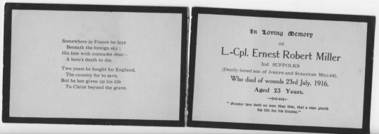 Memorial card for Chatteris soldier  L Cpl Ernest Robert Miller, who died of his wounds in France during WW1. Contributed by T Prior.