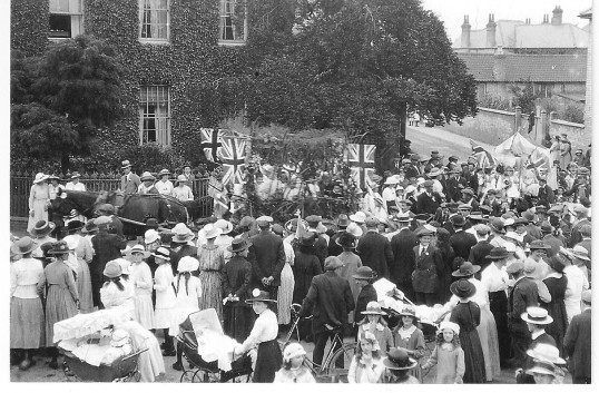 East Park Street,Chatteris, with Aylesbury House in background. Showing celebrations to mark end of First World War. Photo courtesy of Mrs Broughton.