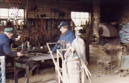 Blacksmith's forge off Railway Lane, Chatteris. Forge since demolished and the area is now known as Old Forge Gardens.