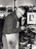 """Dud"" Paul at work in his cobblers shop, High Street, Chatteris. Photo courtesy of T Calvert."