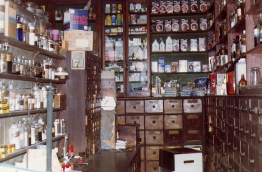 Interior of Dwelly's Chemist shop, Park Street, Chatteris. Photo courtesy of T Calvert.