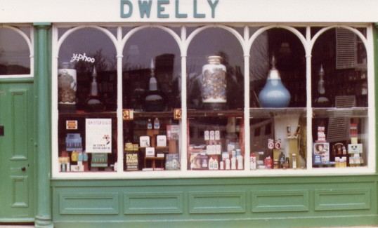 Exterior of Dwelly's Chemist shop, Park St., Chatteris. Photo courtesy of T Calvert.
