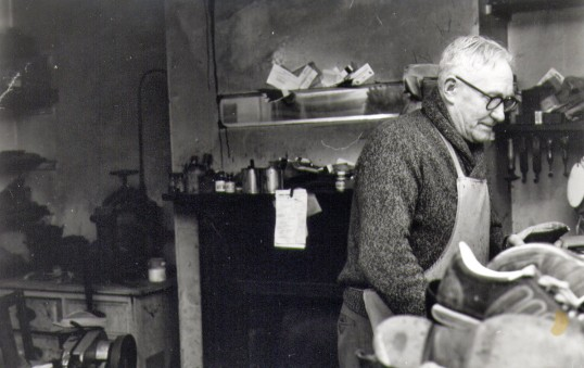 Dudley Paul in his cobbler's shop, High Street, Chatteris. Photo courtesy of T Calvert.
