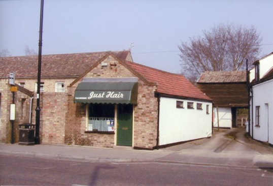 'Just Hair'  hairdressers, situated at the site of 3A East Park Street, Chatteris, formerly Skeels the plumbers. Shop owner is Pat Bristow since 1982