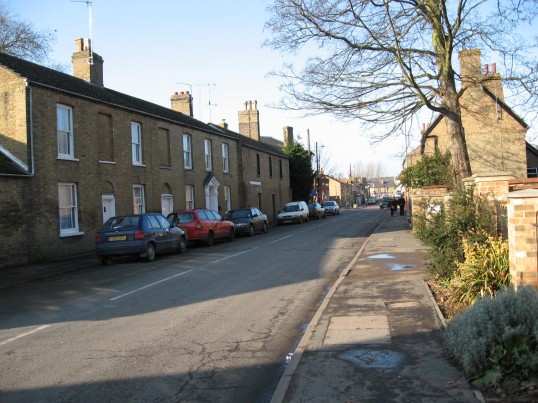 View of a terrace houses,  looking down Wenny Road ,Chatteris towards East park Street.