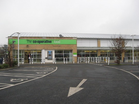 'The Co-operative Food ' Store viewed from the side of the building, in Bridge Street Chatteris