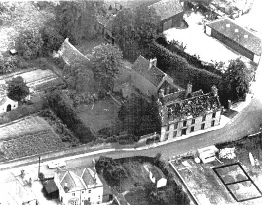 Aireal view of outbuildings and 'The Shrubberies' house (demolished 1964) plus another dwelling situated in Saint Martins Road, Chatteris.