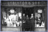 G T Blyton & Son drapers  shop, was  at 4 East park Street  & moved to 20 Market Hill ,Chatteris.May Ash ( née Fisher ) 1st on the left of the photo