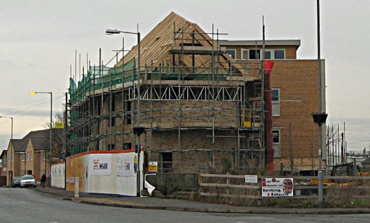 Building of flats on site of demolished 'Harvest House' that once stood on Bridge Street and corner of Dock Road,Chatteris.