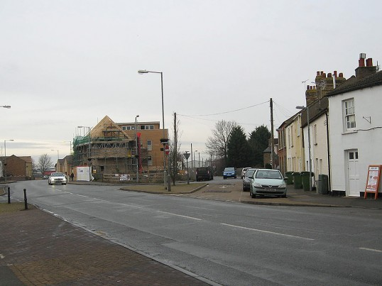 View from distance of building of flats on site of demolished 'Harvest House' that stood on Bridge Street and corner of Dock Road, Chatteris