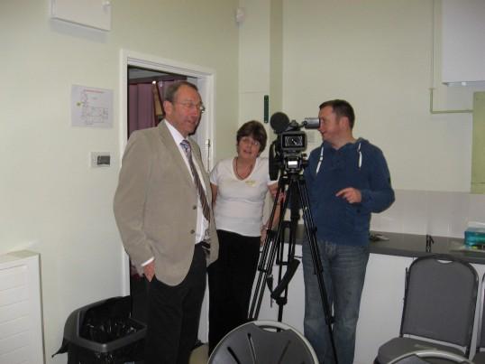 Chatteris Community Cinema, King Edward Centre. ITV Anglia News visit  première screening of 'Made i n Dagenham'.Camerman Stewart Leithe