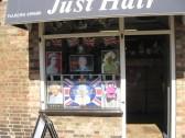 Just Hair shop  in Chatteris,  East Park Street. Window  display celebrating the Queens Diamond Jubilee 2012
