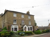 Bramley House, Market Hill, Chatteris displaying Flags/bunting celebrating the Queens Diamond Jubilee 2012.