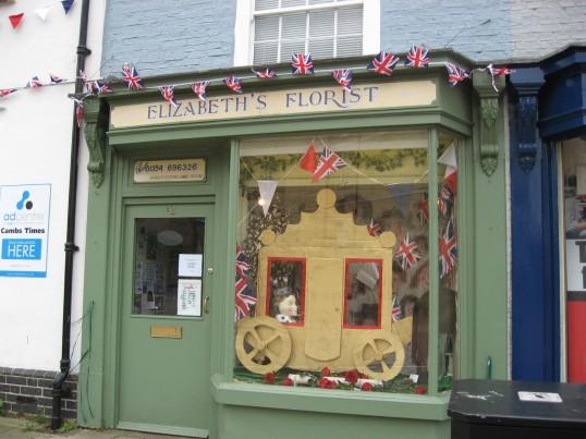 Elizabeth's Florist  in High Street Chatteris, window display for the Queens Diamond Jubilee 2012