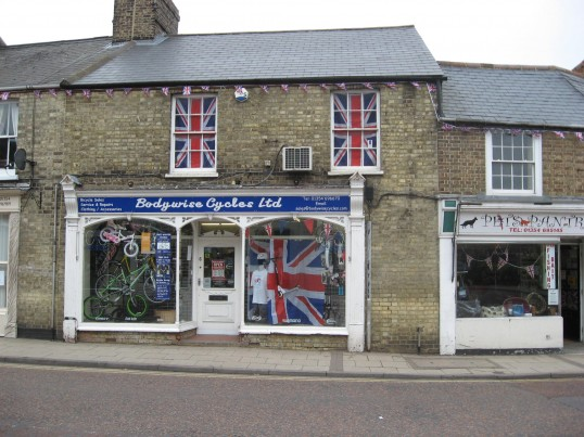 Bodywise Cycles Ltd, Market Hill ,Chatteris, window display for the Queens Diamond Jubilee 2012