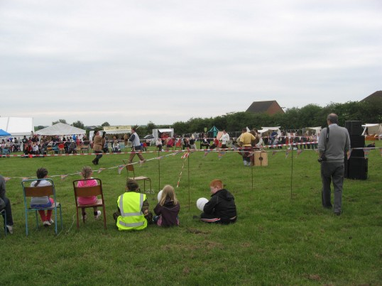 Chatteris Historic Jubilee Festival at Furrowfields Recreation Ground,   'Clan Wulfhar Vikings' in action in the arena.
