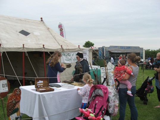 Chatteris Historic Jubilee Festival, at Furrowfields Recreation Ground. The stall housing the falconry.