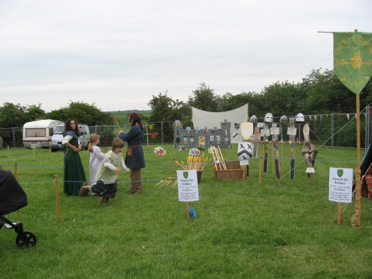 Chatteris Historic Jubilee Festival at Furrowfields Recreation Ground  'The Have-a-go-Archery' display.