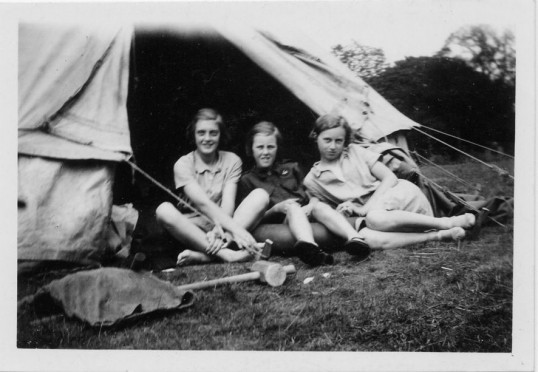 Three Chatteris Girl Guides at camp