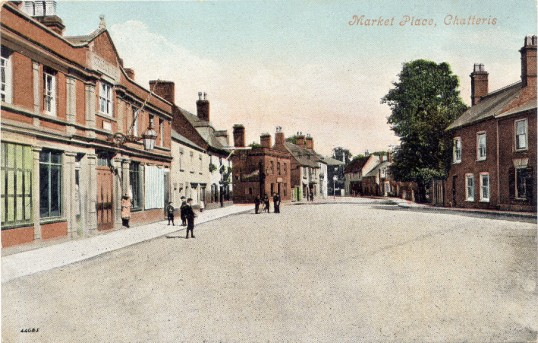 Postcard of Market Place (now Market Hill) in Chatteris. Sent to Miss E Roe of Badgney March from Ada of Duffield nr. Derby. Stamp and date missing.