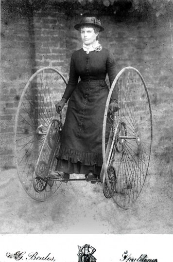 Mrs Robert Billups of Chatteris on a Dicycle