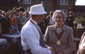 Welcoming the guest. Chatteris Trade Fair Ox roast.  Photo by Mr E J Tilley.. Councillor Hilda Clarke