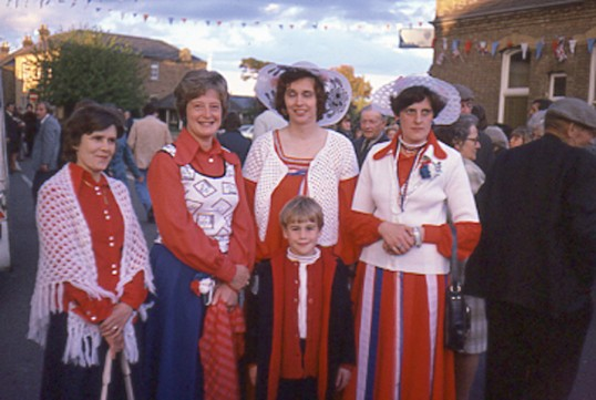 Ladies in Red at Chatteris Trade Fair Ox roast. Photo by Mr E J Tilley.